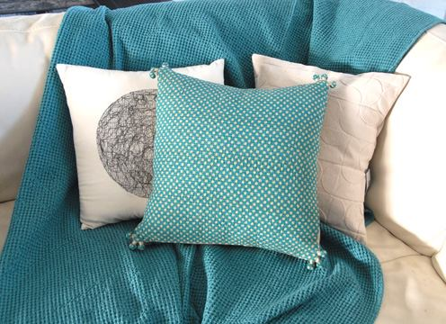 My favorite cotton blanket and throw pillows.