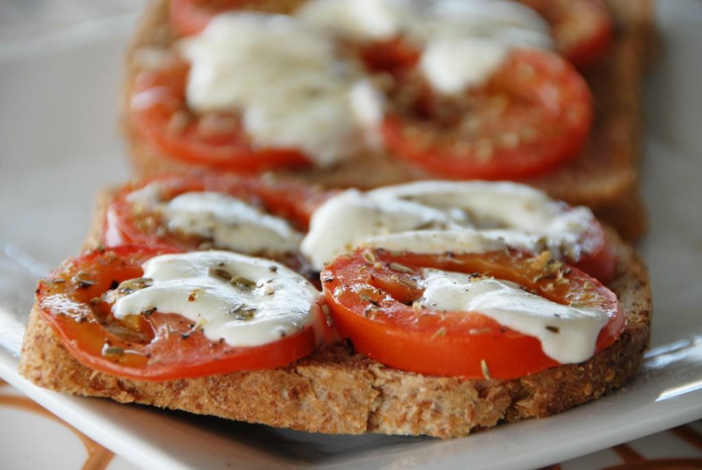 open face caprese sandwich