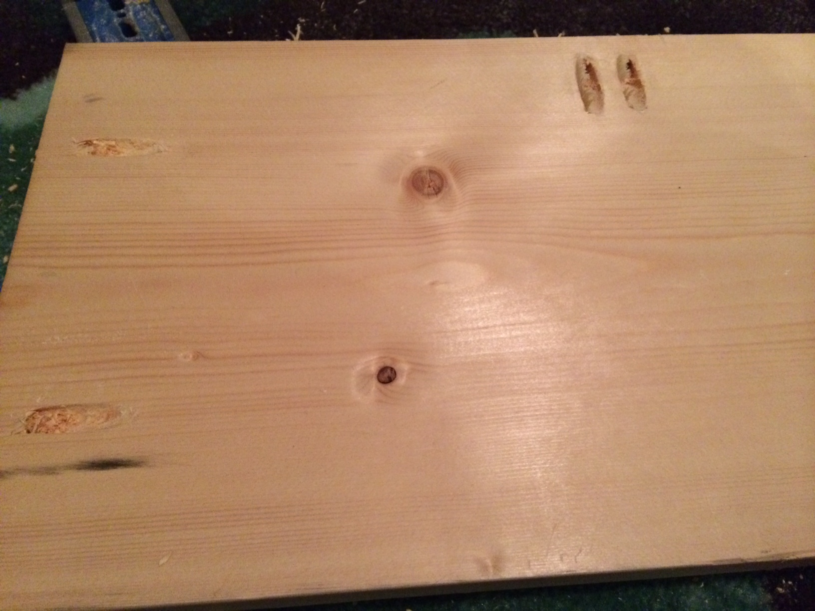 I drilled pocket screws to attach the three boards