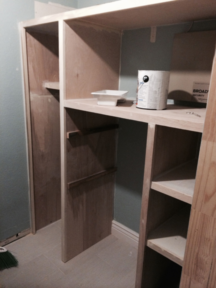 Built-out cabinets/shelving.