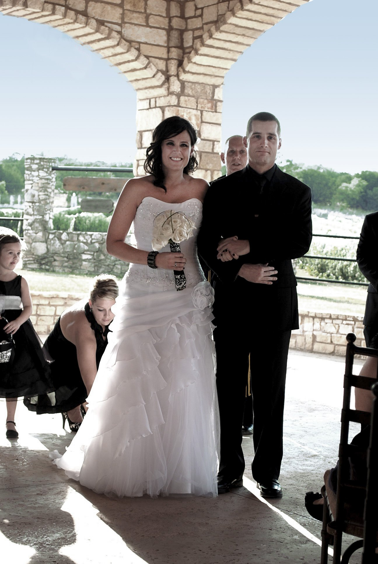 My black and white wedding. My hubs wore all black and so did my girls.