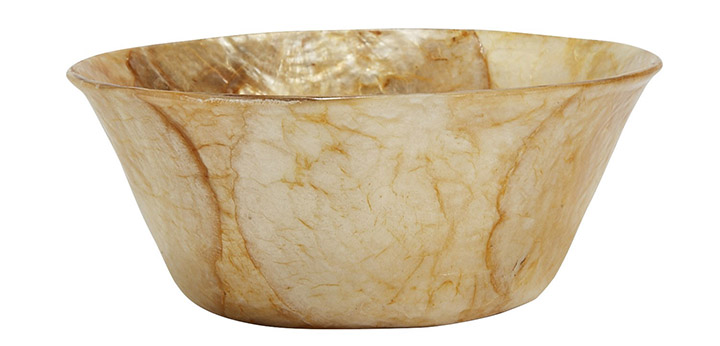 hospitality capiz bowl in gold