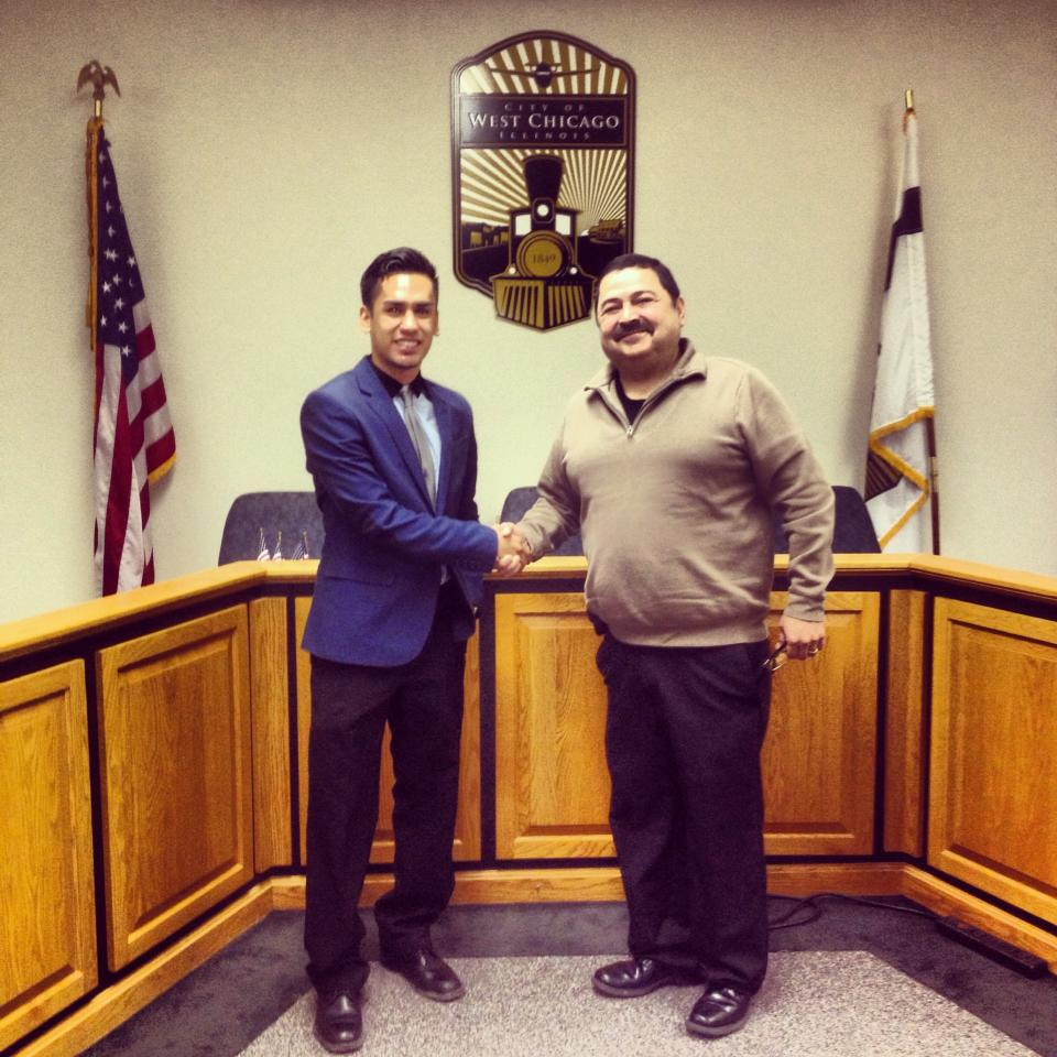 With the Mayor of West Chicago    Jenaro Yasit (Left) shaking hands with Ruben Pineda (Right)