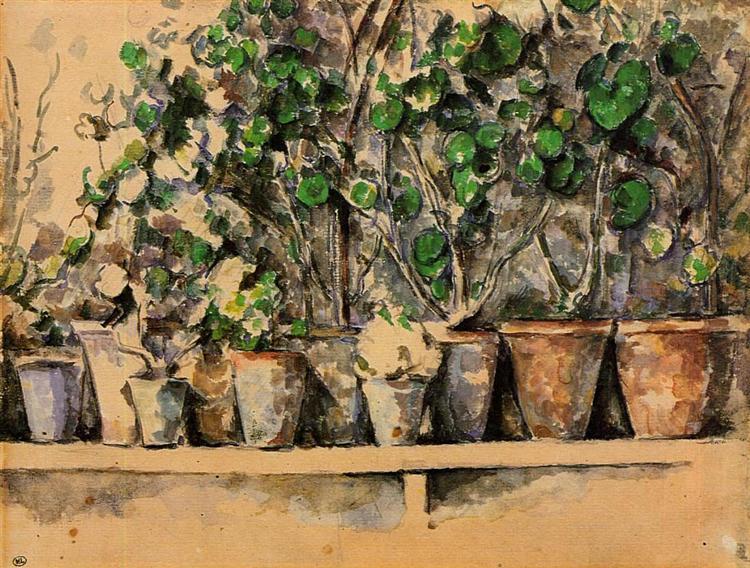 Paul Cezanne, Flower Pots, watercolor, c.1887,Musée d'Orsay, Paris, France
