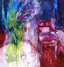 Shirley Trevena   Red Red Amaryllis Green Glass Vase Pink Chair