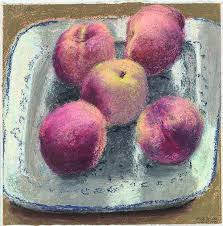 Five Peaches , - Avigdor Arikha 1992 pastel on canvas