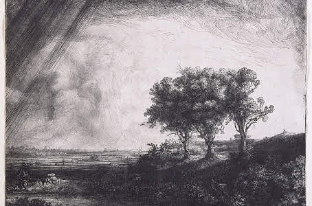 The Three Trees - Etching by Rembrandt