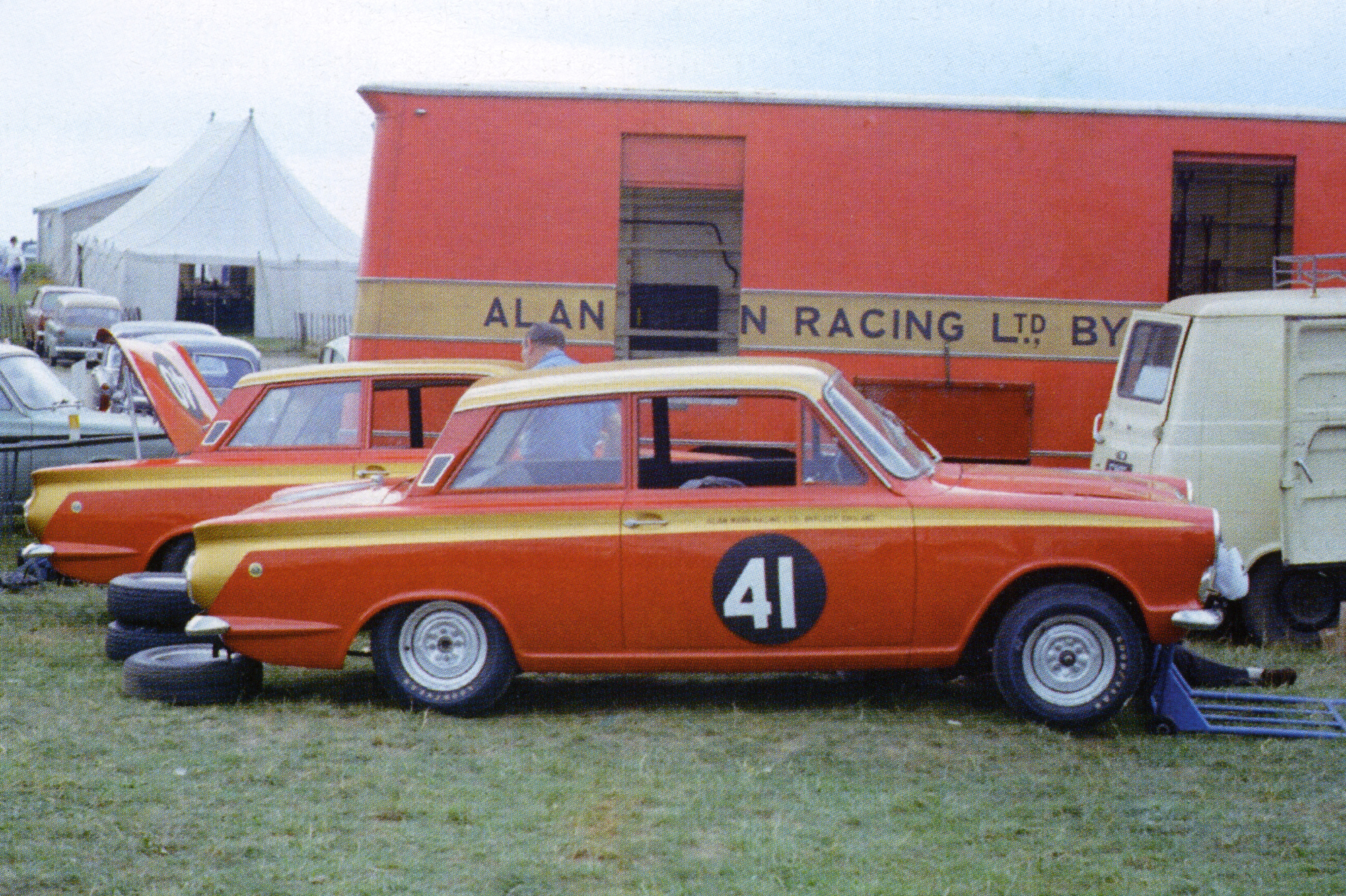 Sir John Whitmore won the European Touring Car Championship with the famous red and gold Cortina.