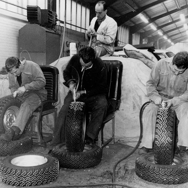 Going old school for #throwbackthursday - manually studding Falcon tyres in preparation for the 1964 Monte Carlo Rally #classiccars #ford #falcon #montecarlorally #alanmann
