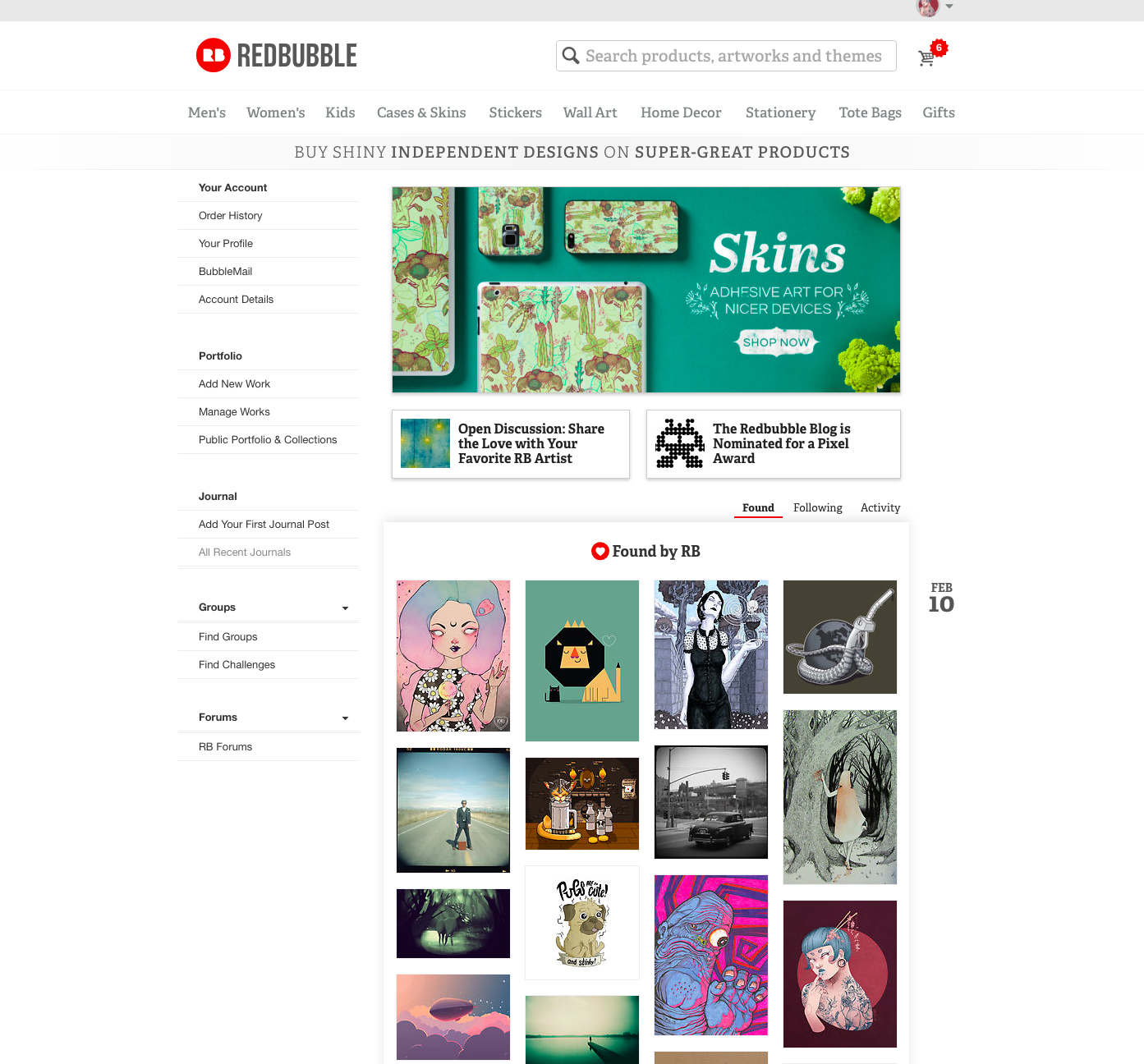 Redbubble- Main Page Feature