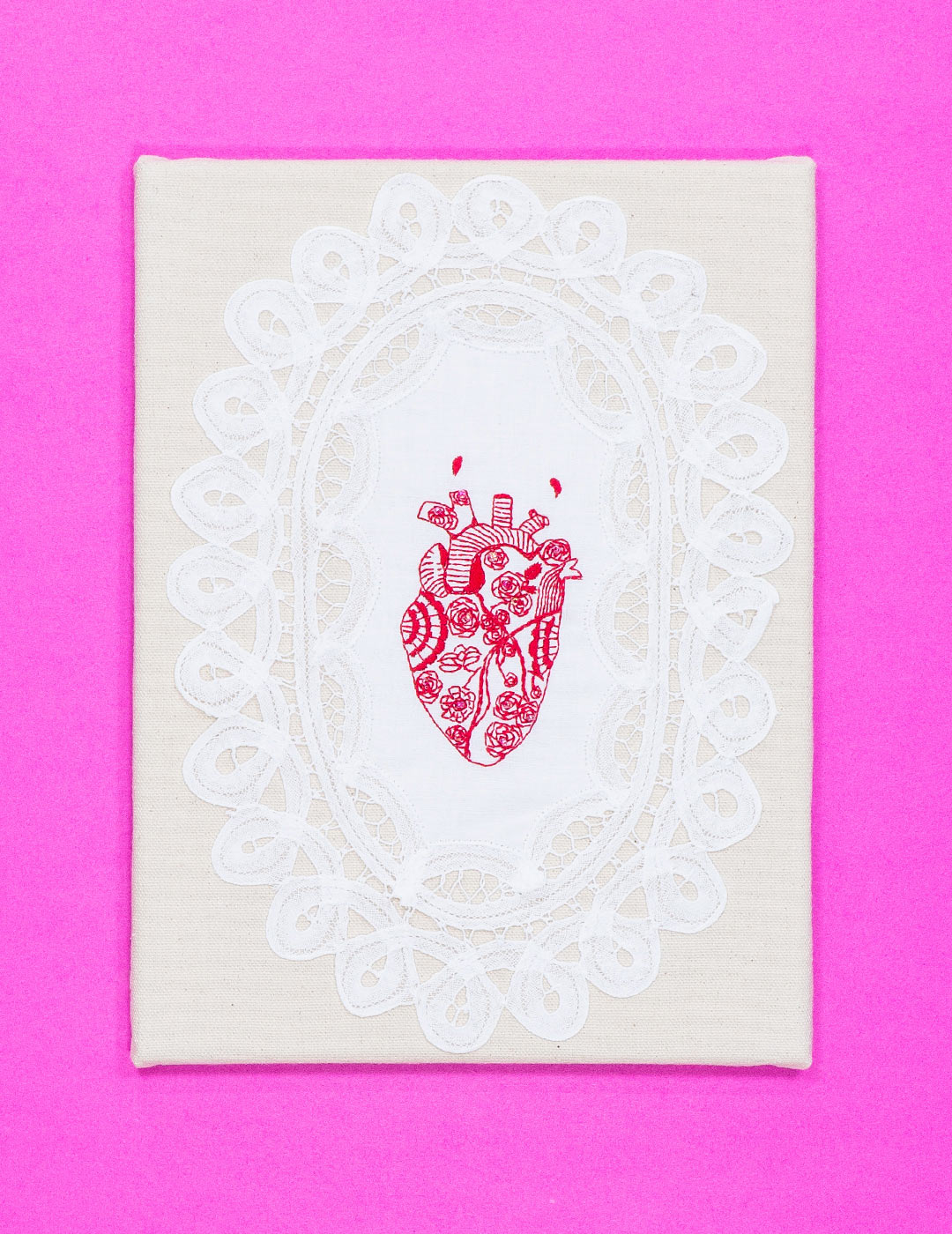 "Tattooed Heart. Embroidery. 9""x13"". 2015.   Photographed by Ryerson University School of Fashion"
