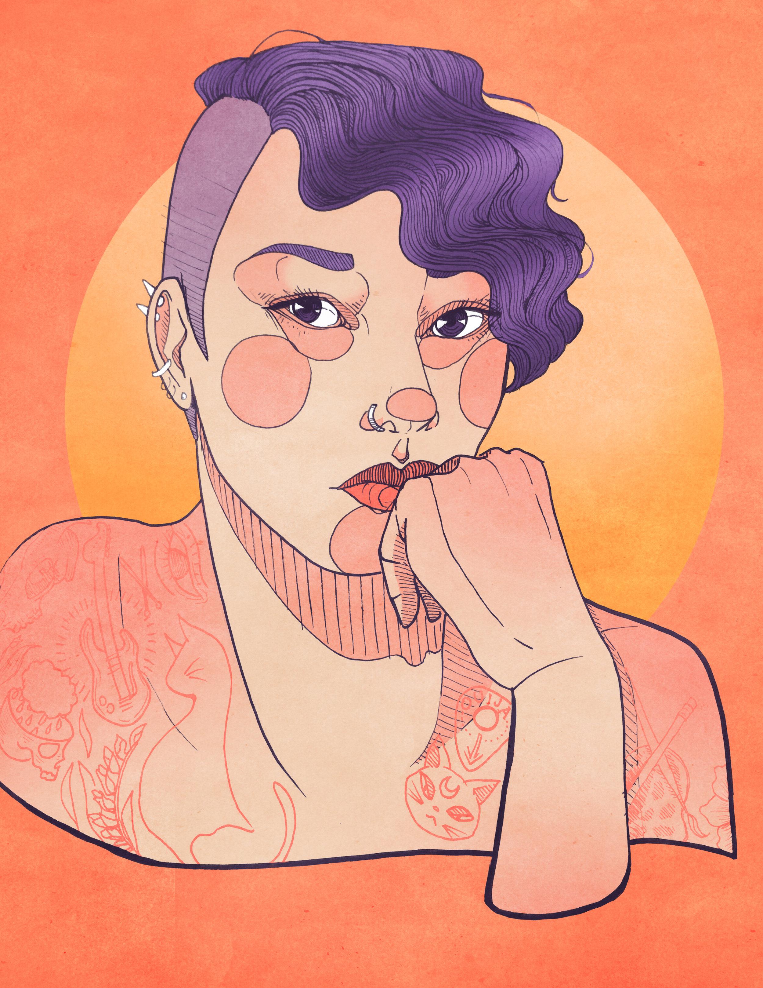 "Betty, Digital Illustration. 8""x10"". 2016."