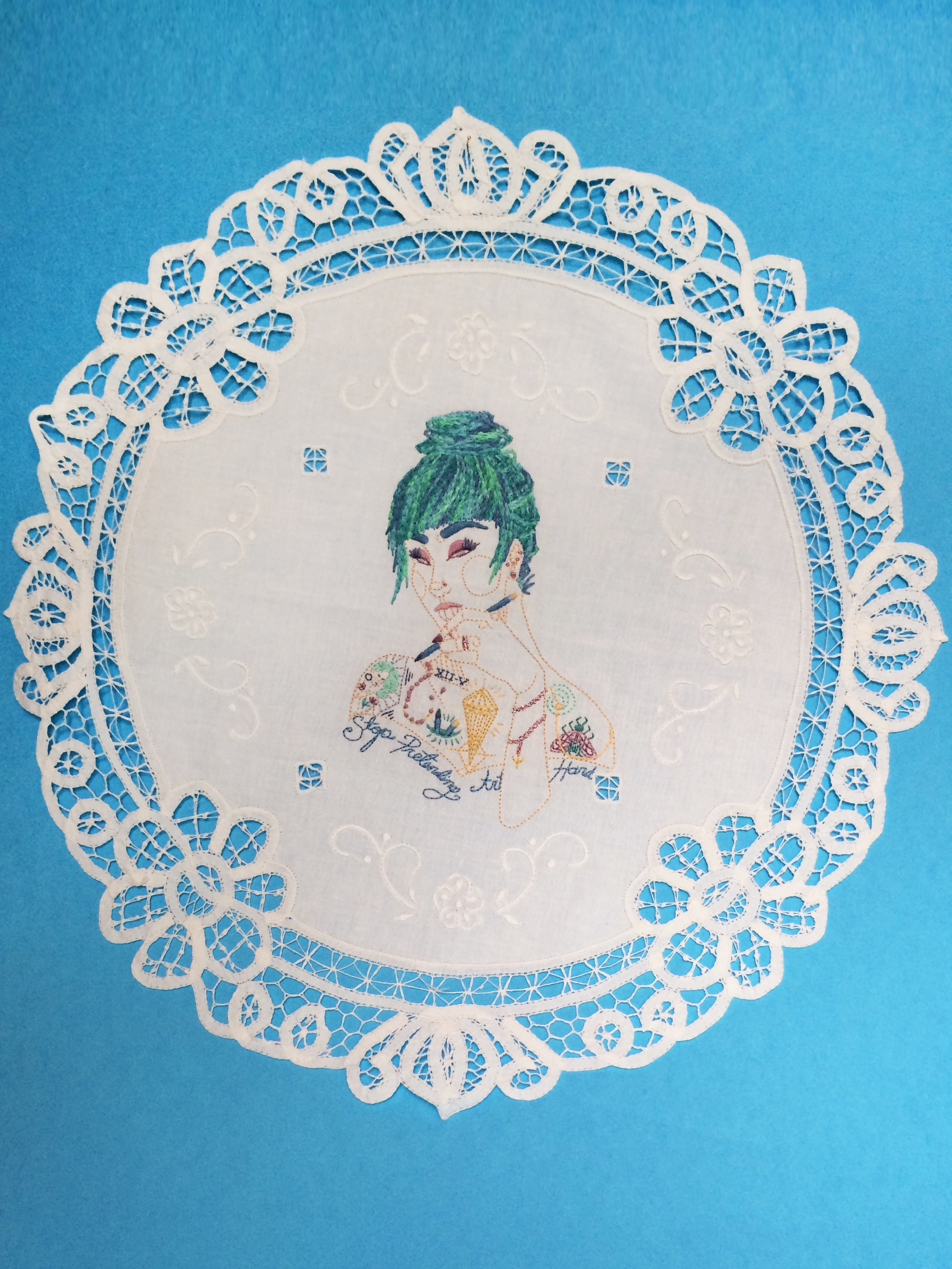 "Amanda  ,   Embroidered Illustration on Vintage Lace. 18""x18""  . 2015."