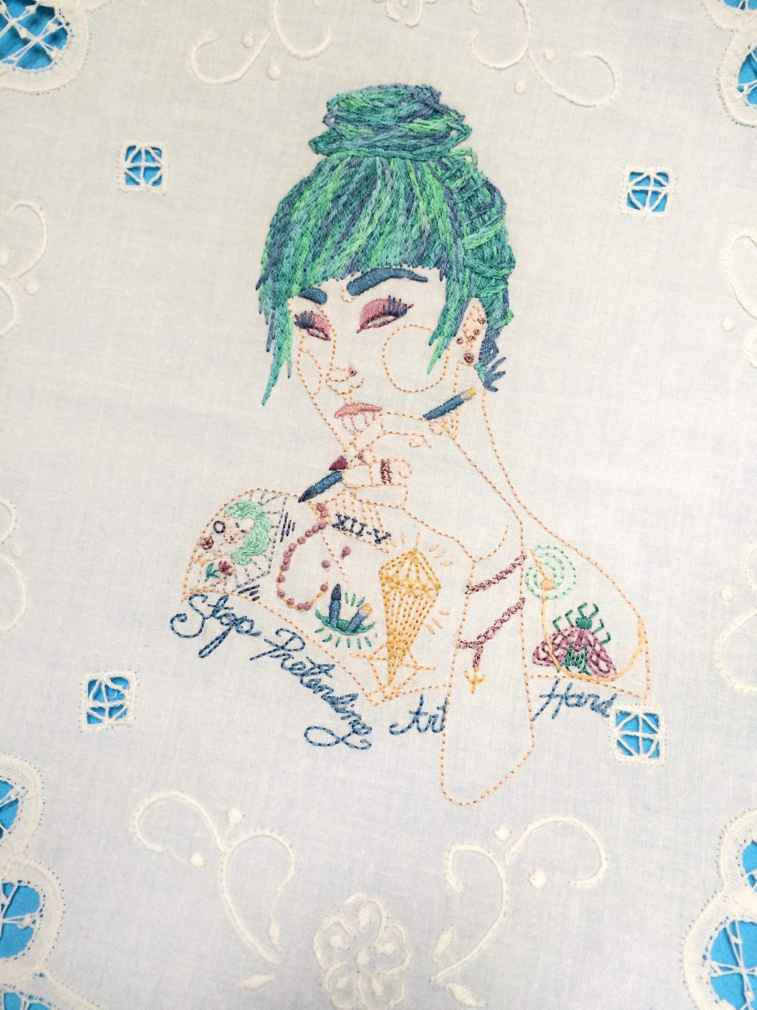 "Amanda, Close Up  ,   Embroidered Illustration on Vintage Lace.18""x18""  . 2015."