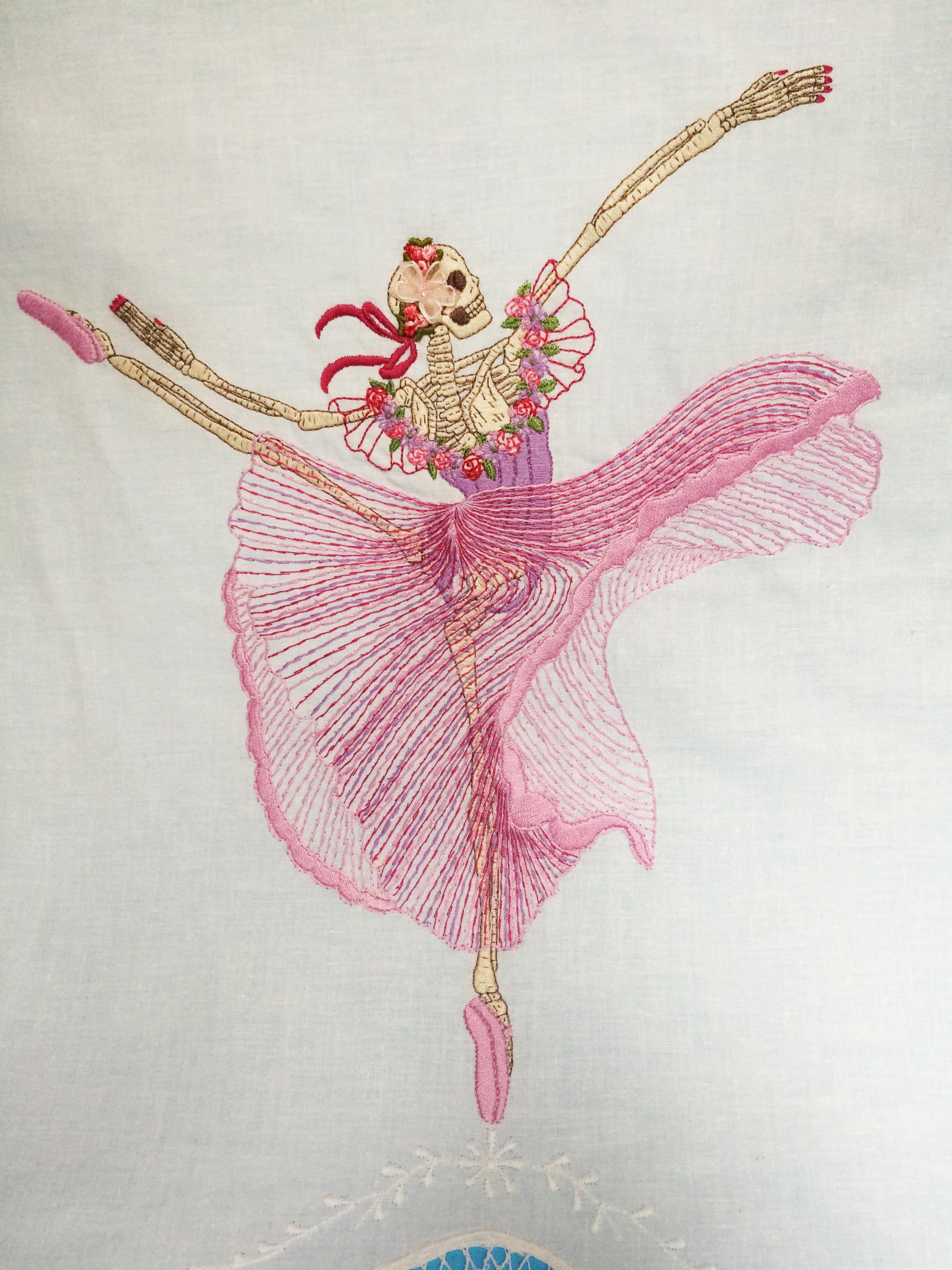 "Skeleton Ballerina,   Embroidered Illustration on Vintage Lace. 20""x15""  . 2015."