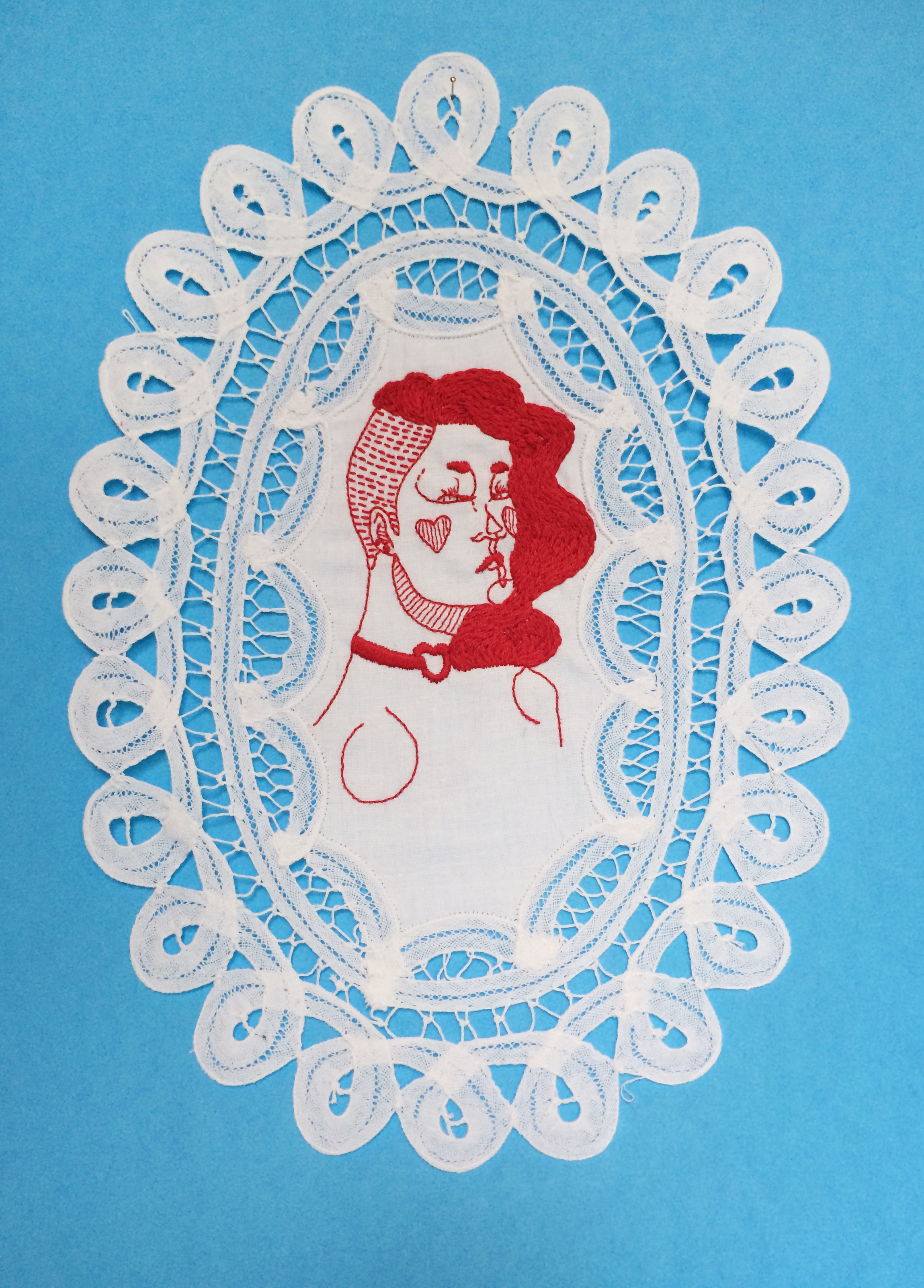 """Queen of Hearts,   Embroidered Illustration on Vintage Lace. 9""""x12""""  . 2016."""