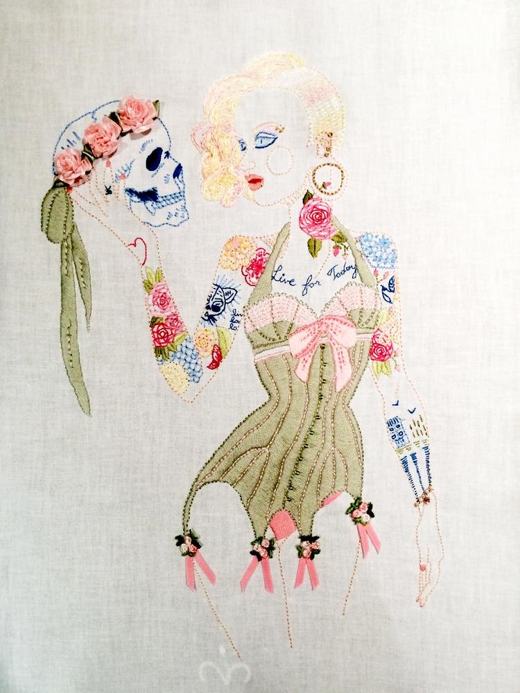 "Nottingham Girl,   Embroidered Illustration on Vintage Lace. 20""x15""  . 2014."