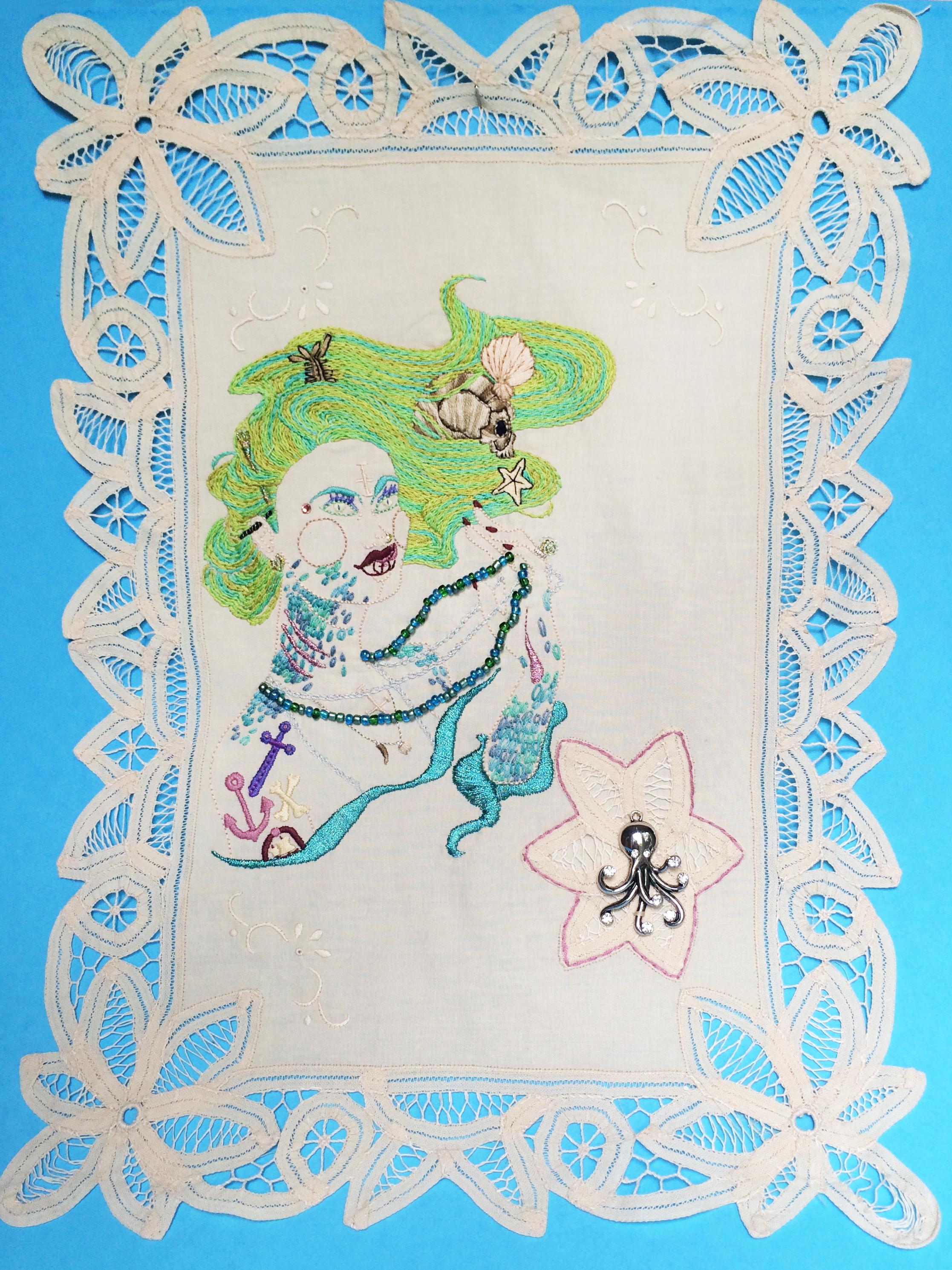 """Mermaid ,   Embroidered Illustration on Vintage Lace. 21""""x15""""  . 2016."""