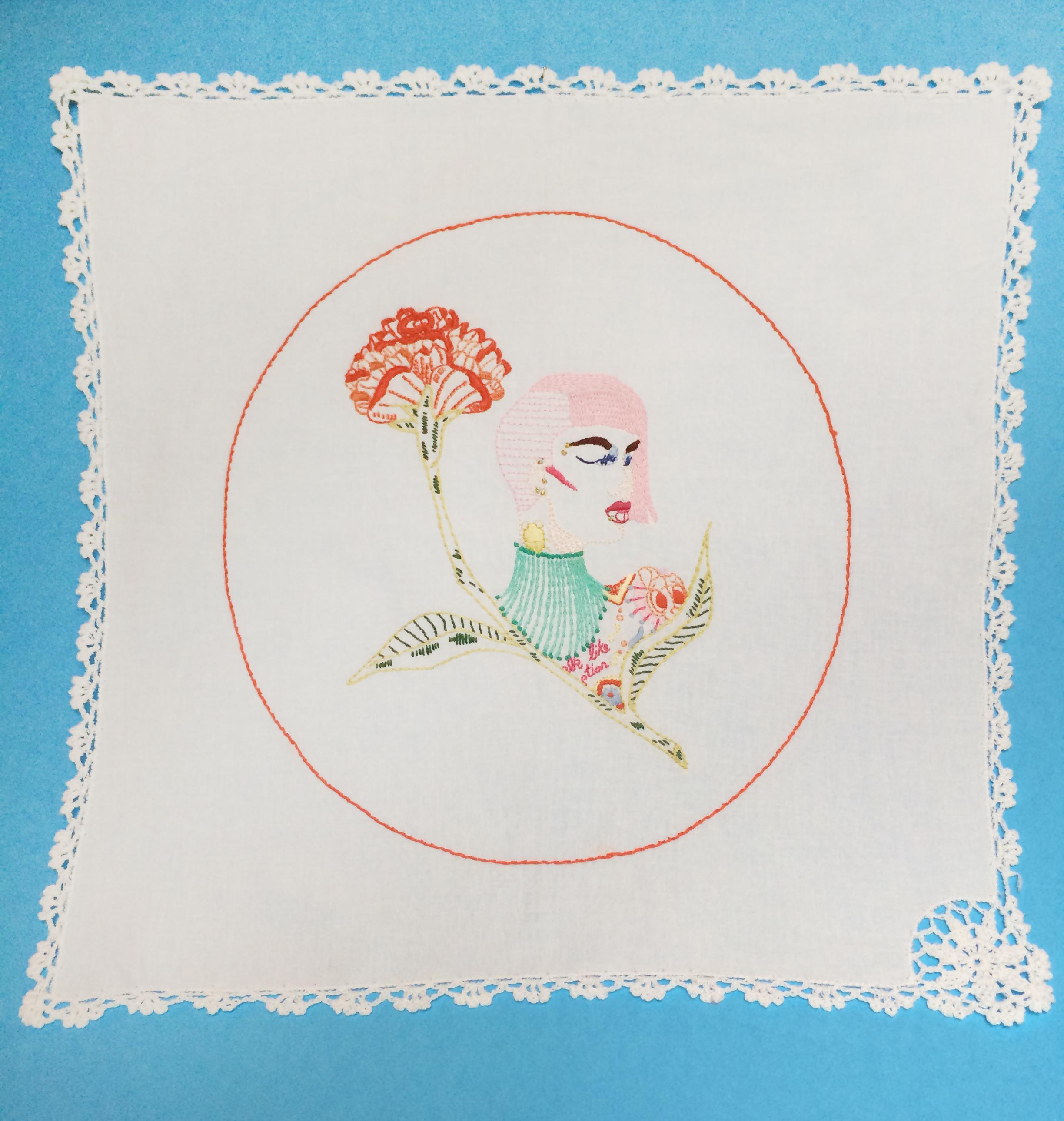 "Nile  ,   Embroidered Illustration on Vintage Lace. 17""x17""  . 2015."