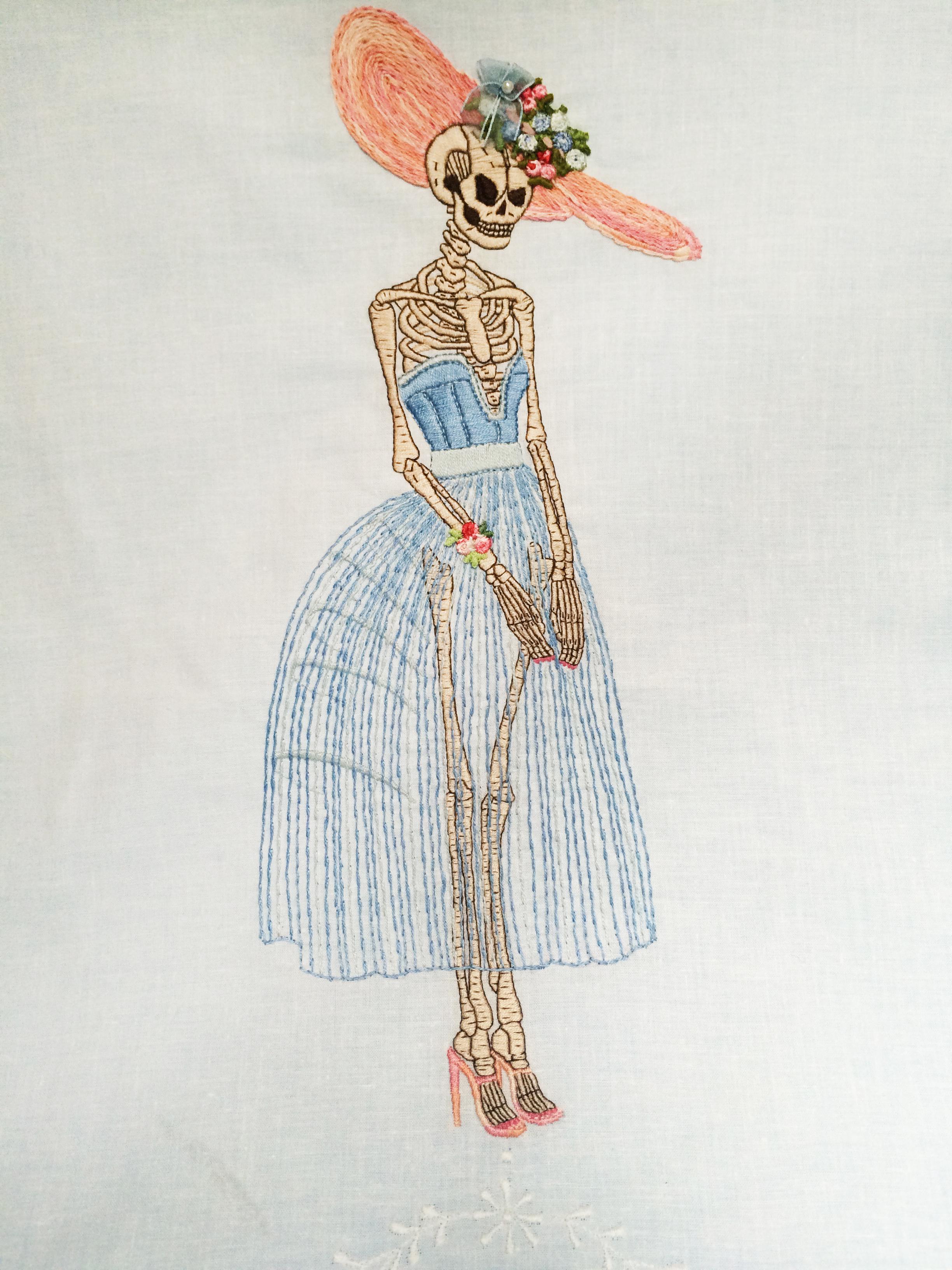 """Skeleton,   Embroidered Illustration on Vintage Lace. 20""""x15""""  . 2015."""