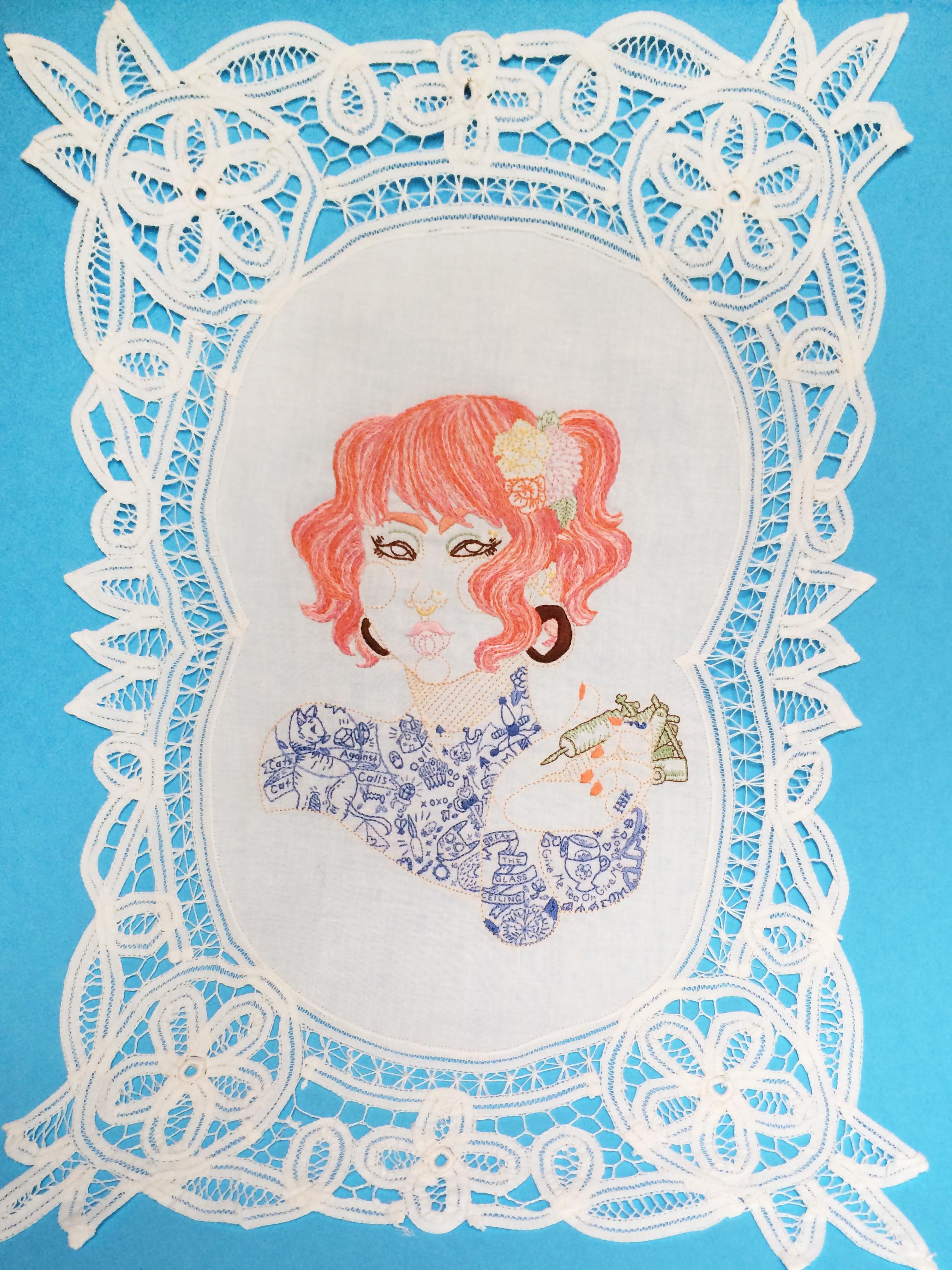 "Sophomore,   Embroidered Illustration on Vintage Lace. 20""x14""  . 2015."
