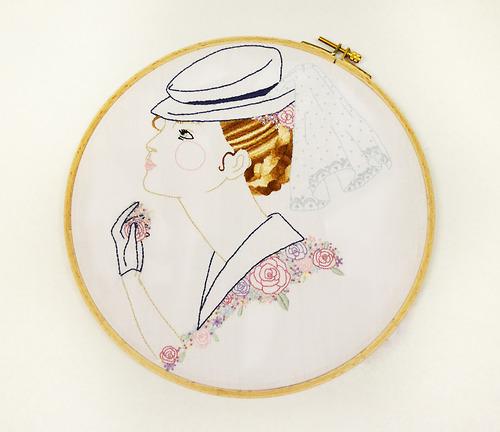 "Rose  , Embroidered Illustration. 10.75""x10.75""  . 2013."