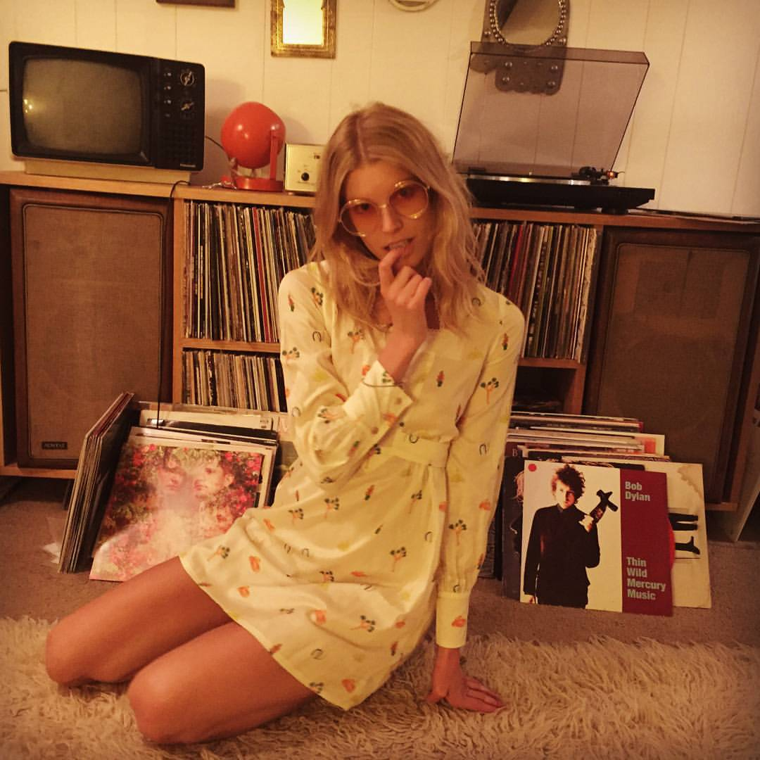 """Just one of those """"hanging out in Joshua Tree, listening to records, and playing #desertsunbrand dress-up"""" nights 🌕⭐ ….with @opium_dreams (at Joshua Tree, California)"""