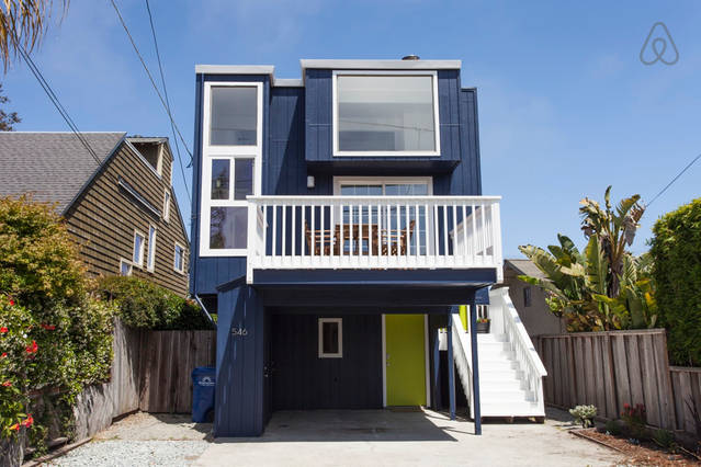 Santa Cruz Surf House, post-renovation.  Photo courtesy of the    Airbnb listing   .