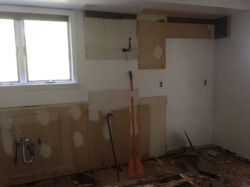 BEFORE: Old cabinets ripped out.