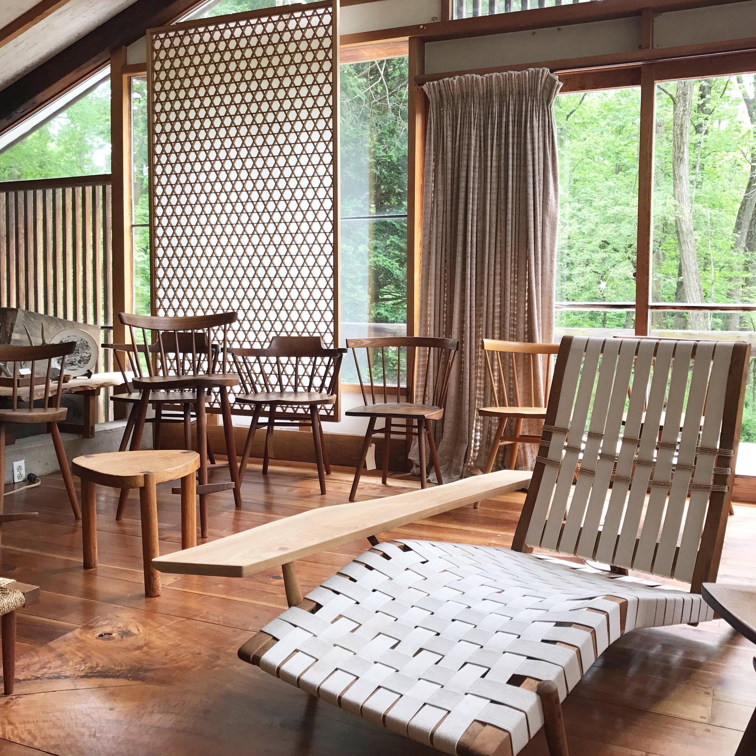 A collection of Nakashima furniture