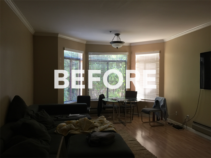 BEFORE: The living and dining area