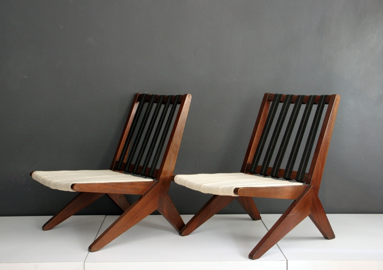 Chairs in mahogany and cotton, 1950s  (   source   )