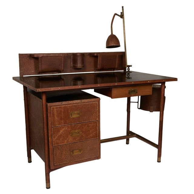 Stitched leather desk, 1950s  (   source   )