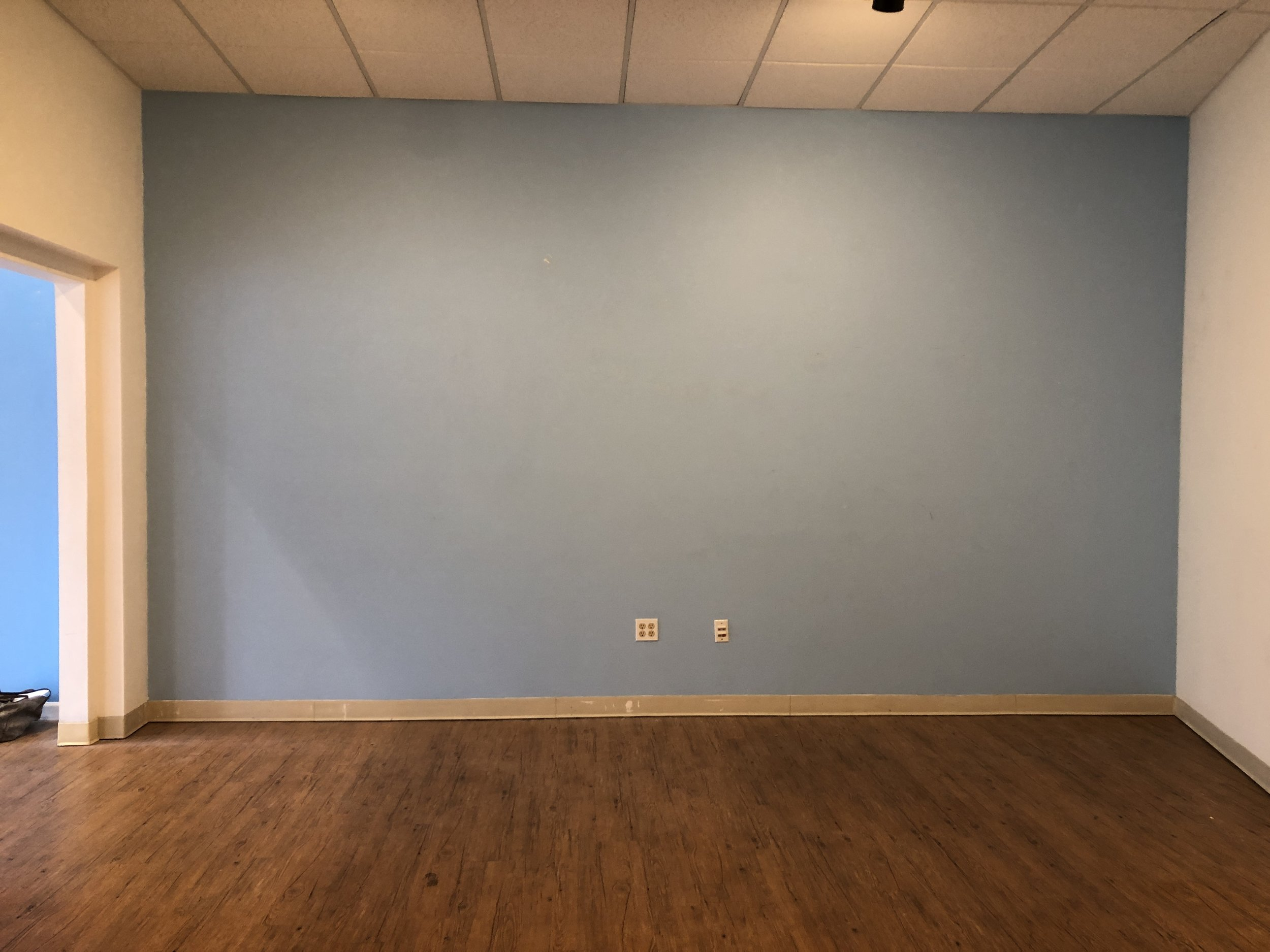 BEFORE: Depressing ceiling tiles