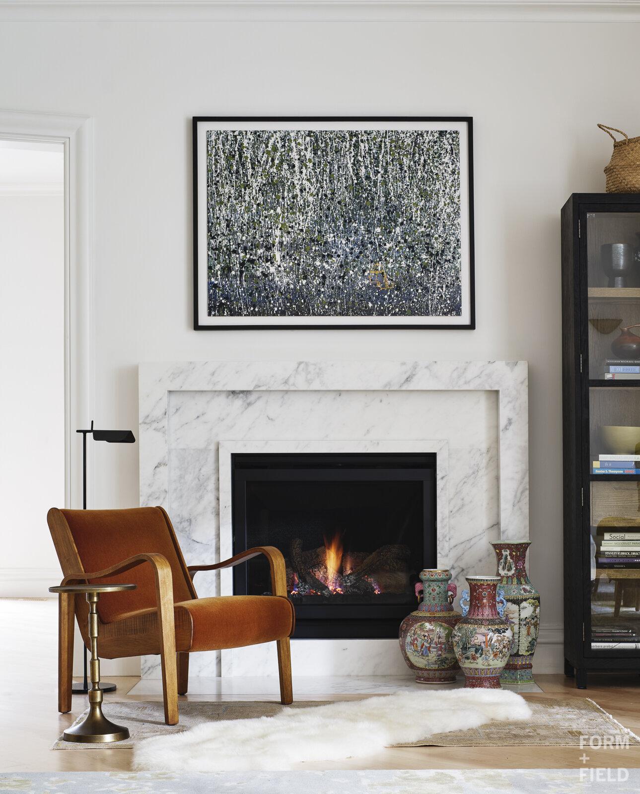 Atherton Estate Family Room Fireplace Detail