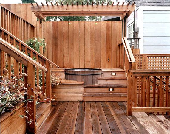 Artisans Landscape Wood Deck and Hot Tub