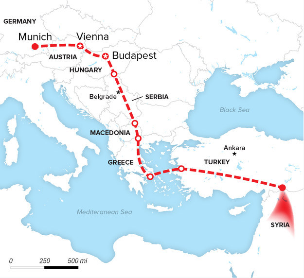 Syrian refugee trail. Photo: BuzzFeed News