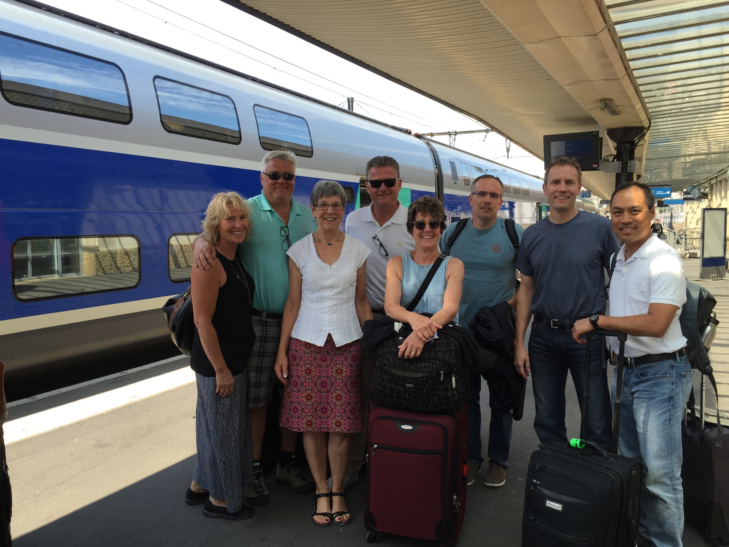 Happy campers arriving in Dijon