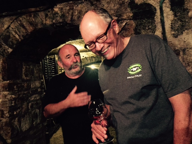 The vigneron and the importer, in the cellar in Pommard