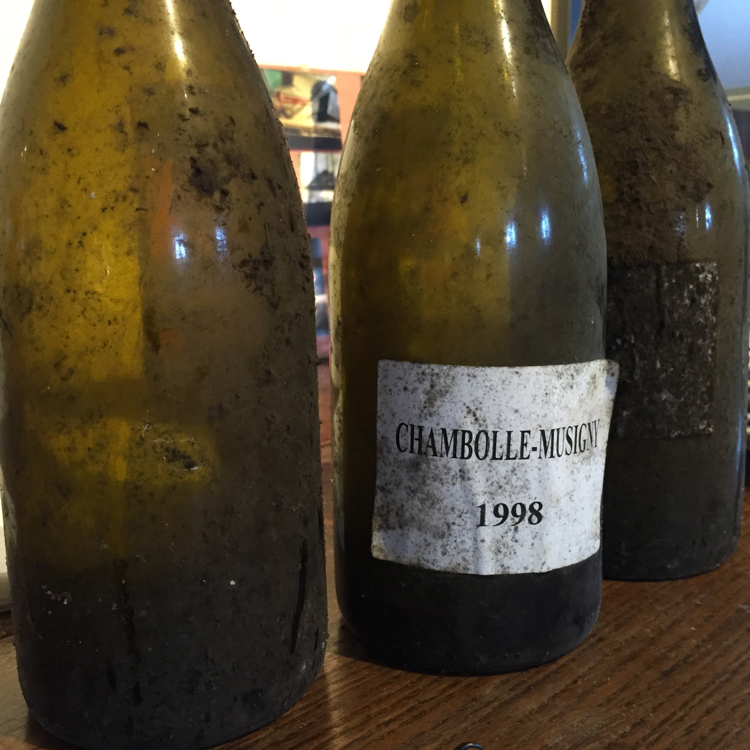 a '98 Chambolle sandwich, between two bottles of '97