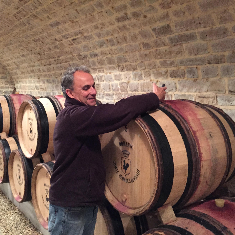 François Millet pulling samples of the '14 Musigny for us in the cellars at de Vogüé