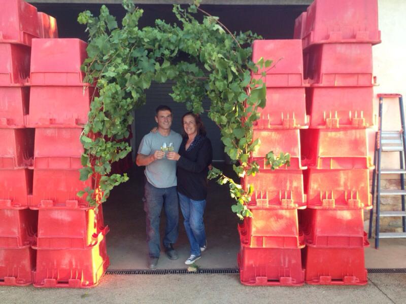 Fabio & Claire - celebrating the end of harvest at Chateau des Rontets in Fuissé