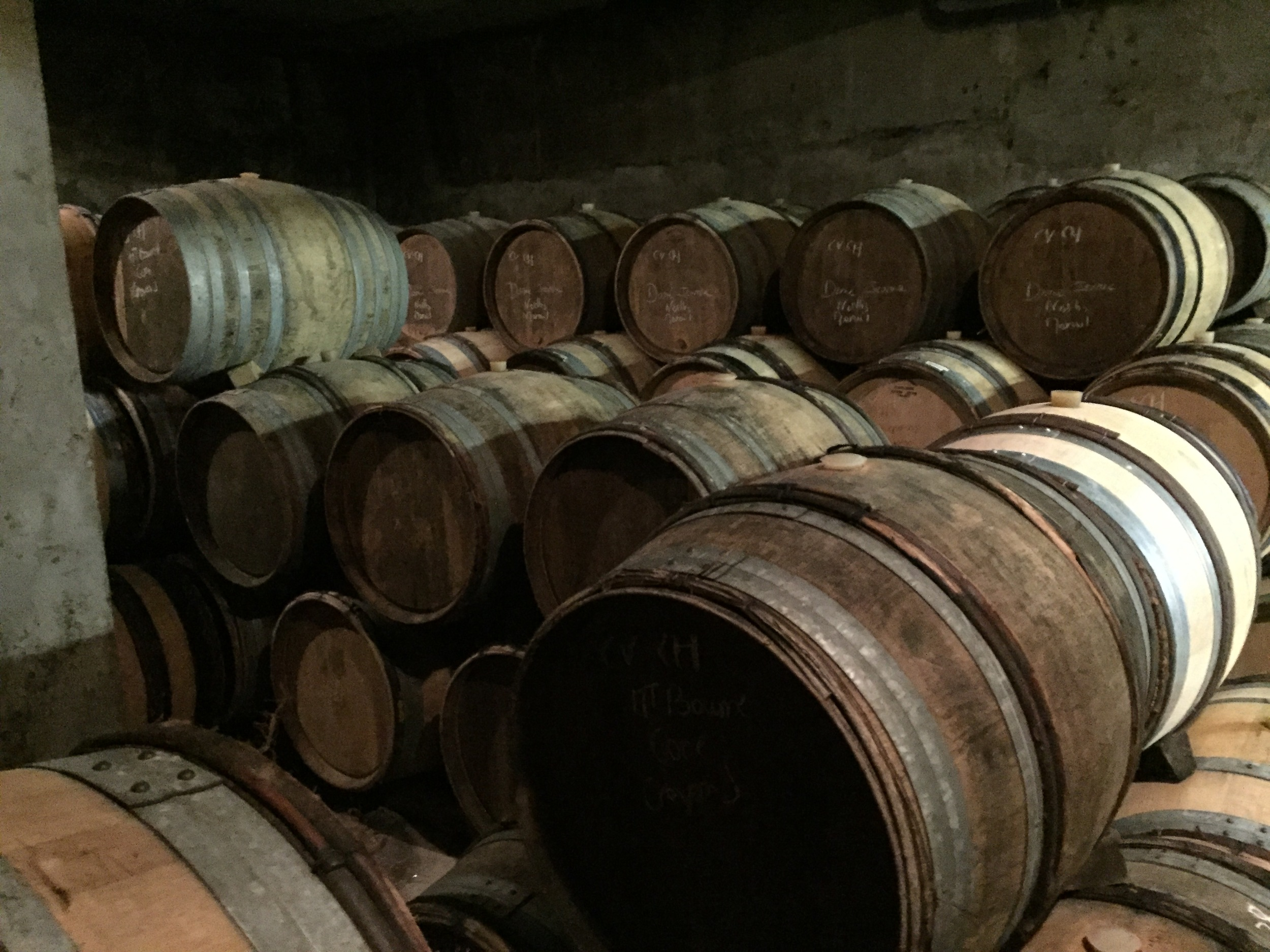 Just a few of the choices in the Laherte cellar...