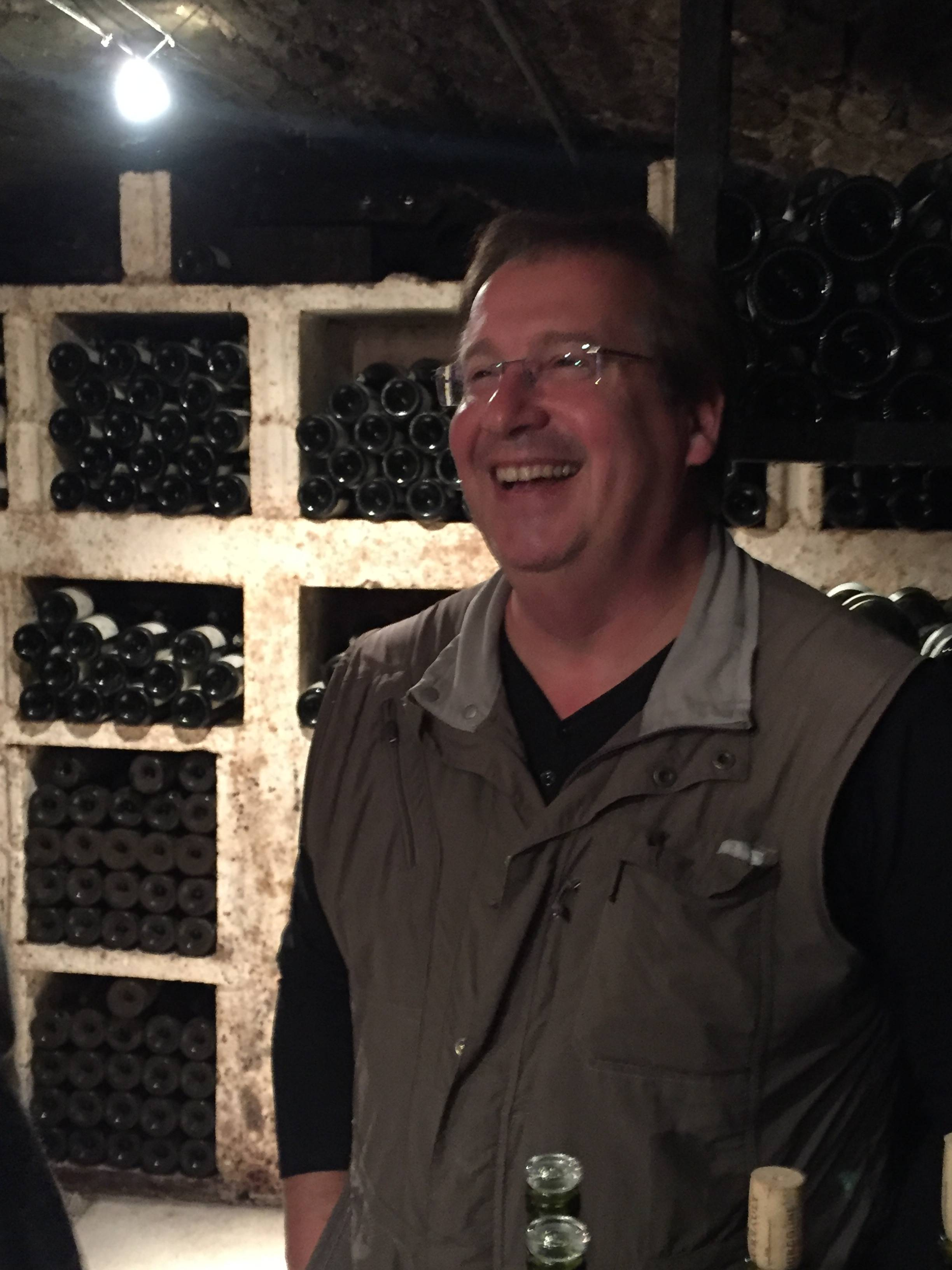 A man very happy with his 2014s - Patrick Essa at Buisson-Charles in Meursault