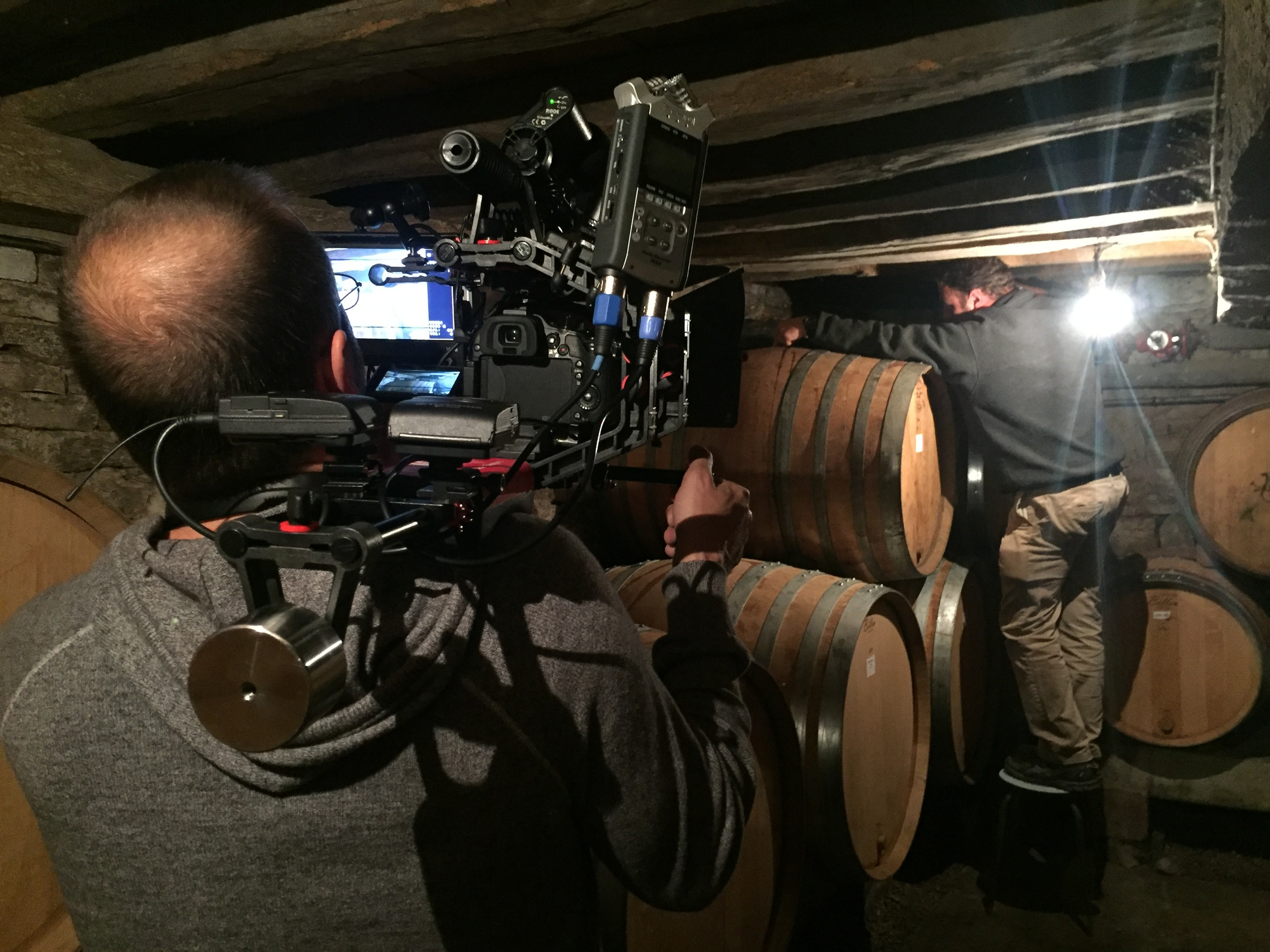 Getting footage of Thiébault topping his barrels in the old cellar in Volnay...