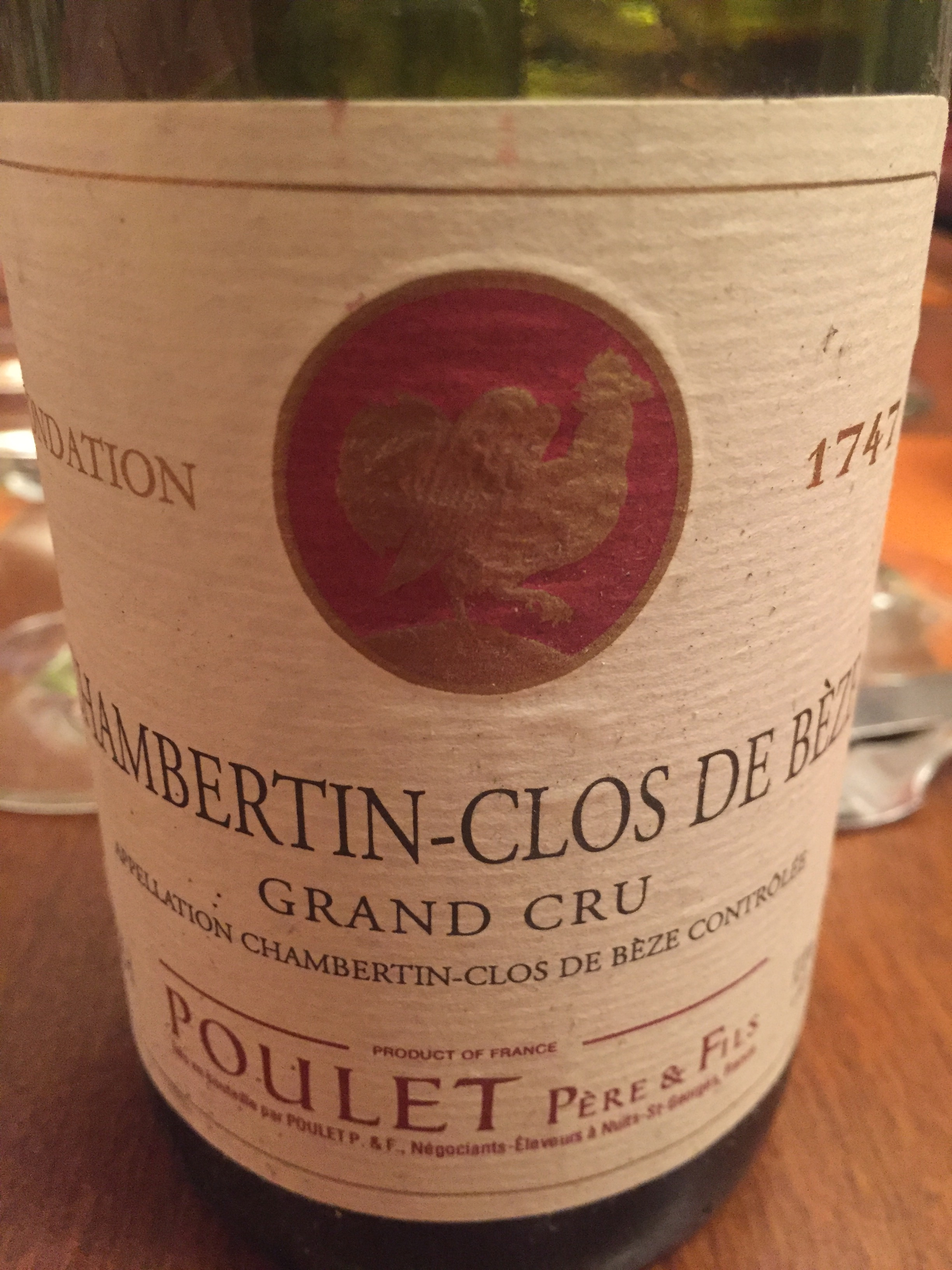 A ridiculously youthful  1990 Clos de Bèze  from Poulet...