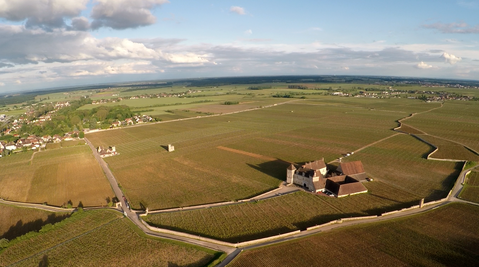 A still from the drone footage we shot last month, high over the  Clos Vougeot