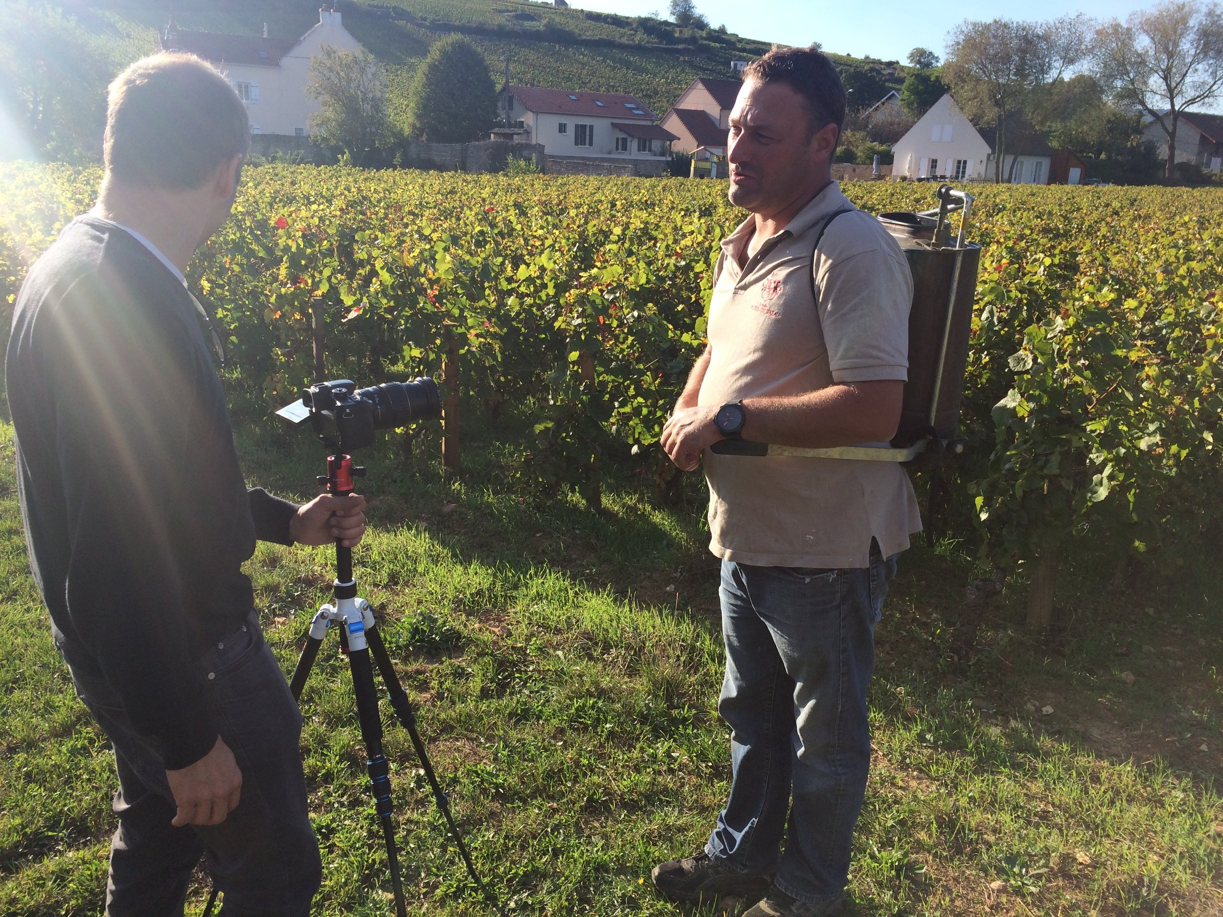 Shooting Thiébault Huber, spraying his biodynamic preparations in the Clos du Colombier in Pommard