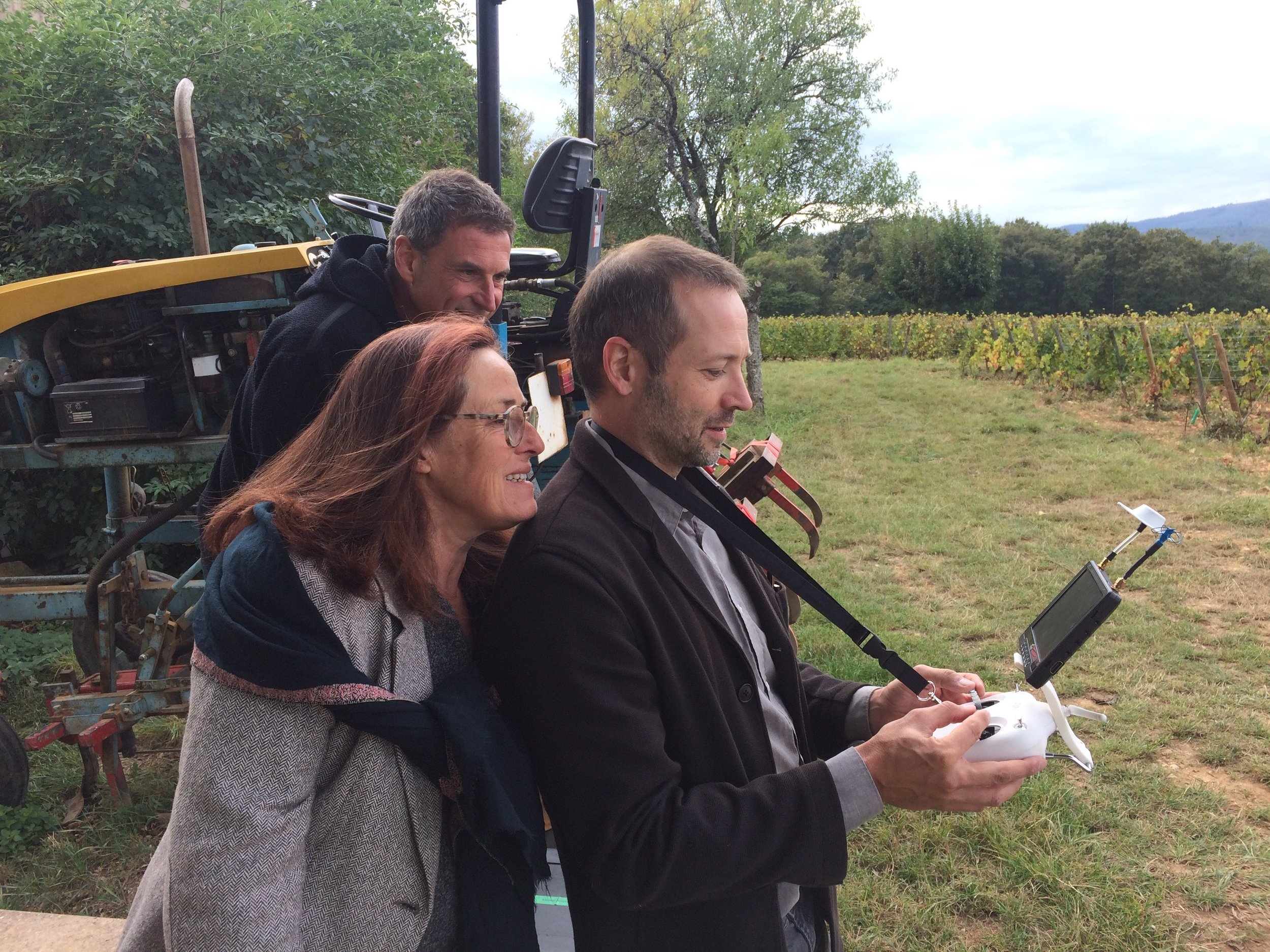 David Baker, flying the drone at  Chateau des Rontets , with winemakers Fabio & Claire Gazeau-Montrasi