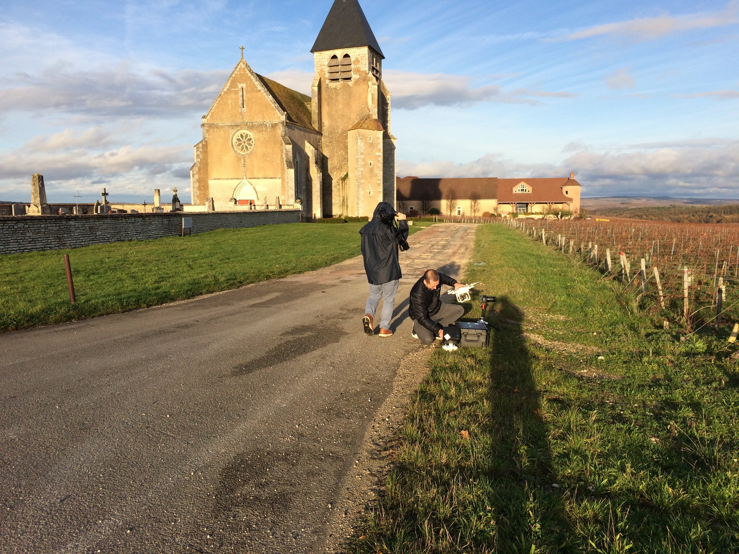 Shooting on a gorgeous, cold day in Chablis...